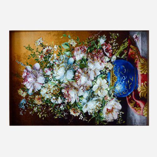 تابلو فرش دستباف با طرح گل و گلدان