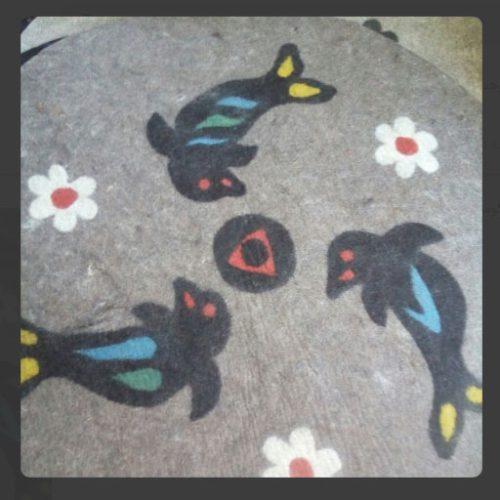 فرش گرد نمدی دلفین